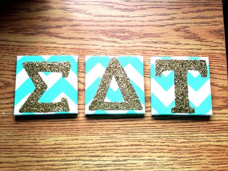 Made canvas #sdt letters for our dorm door #crafting #sigmadeltatau #sdt #sorority #crafts #chevron #glitter