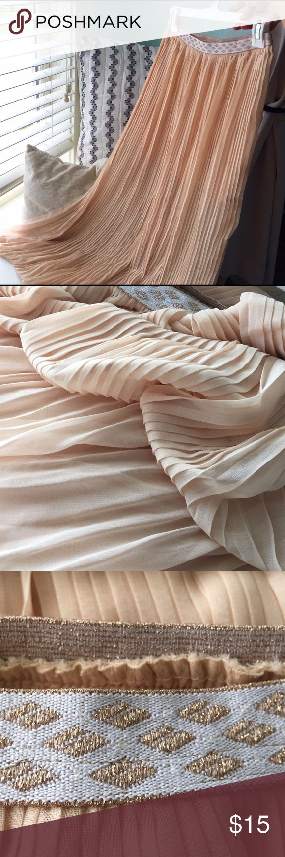 Tan maxi skirt Very interesting fabric! Light/medium tan color maxi skirt made of see-through material, with short slip underneath. Has stretchy waistband with sparkling rose gold diamond-shaped embroidery Love Riche Skirts Maxi