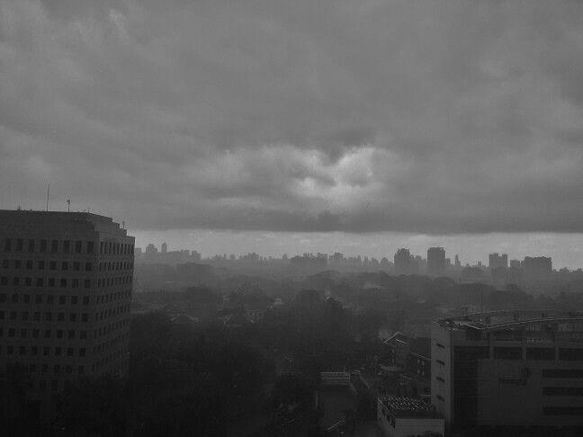 Under heavy clouds
