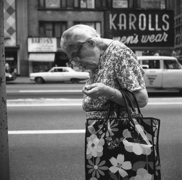 Untitled | joeinct: Woman Hunched with Floral Bag, Photo by...Vivian. Maier