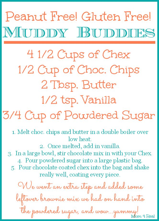 Peanut Free Gluten Free Muddy Buddies Printable Recipe
