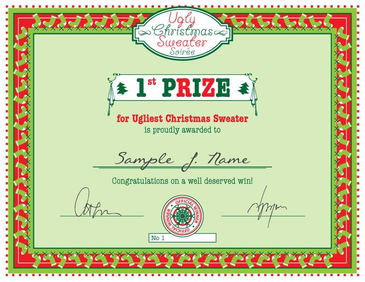58 best ugly sweater party images – 1st Place Award Certificate