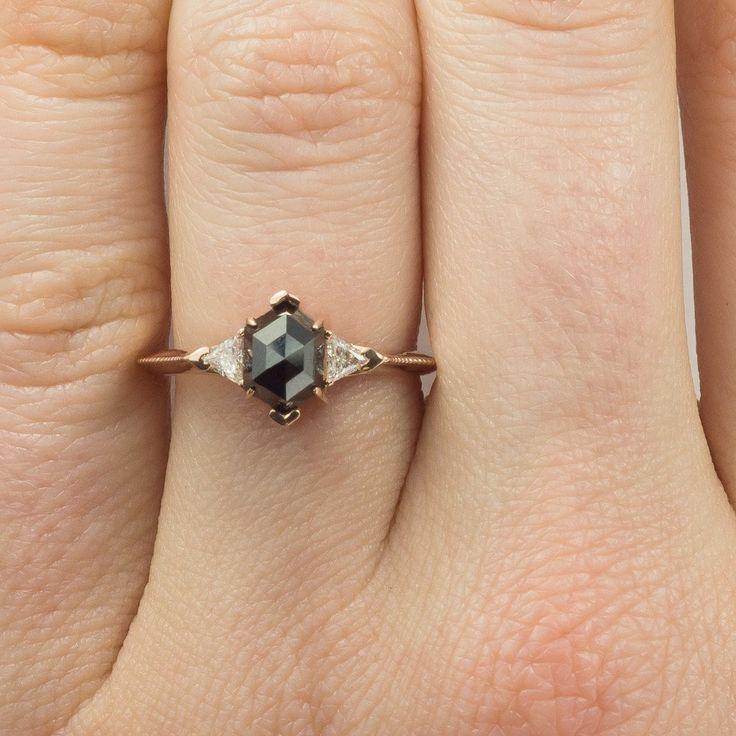 Black Hexagon Diamond Engagement Ring- Victoria Setting, 14K Rose Gold - Point No Point Studio - 6
