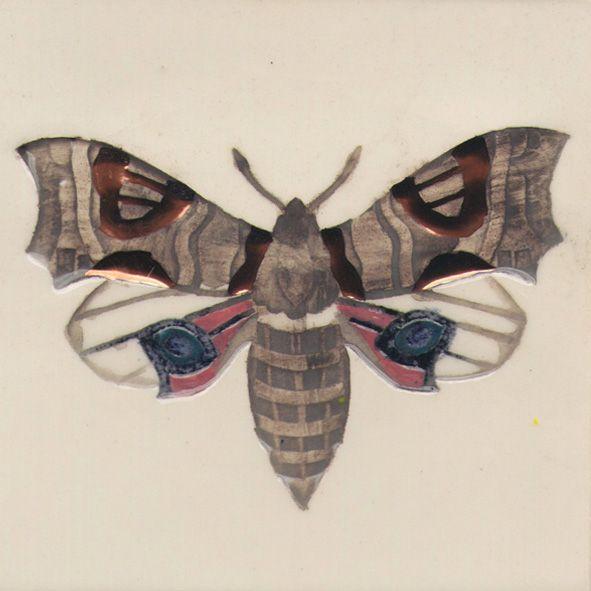 10 x 10 cm ceramic tile. Moth.