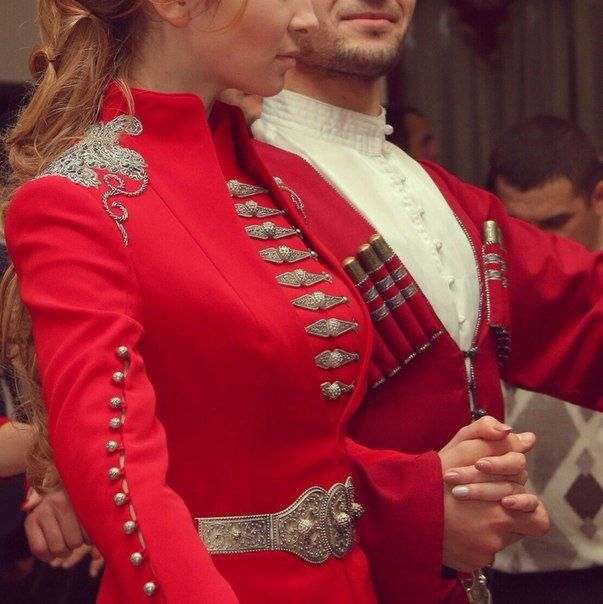 Red Circassian costume with silver embroidery