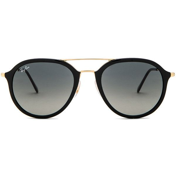 Ray-Ban Double Bridge Aviator ($175) ❤ liked on Polyvore featuring accessories, eyewear, sunglasses, metal frame glasses, aviator glasses, aviator style sunglasses, ray ban aviator and ray ban sunnies
