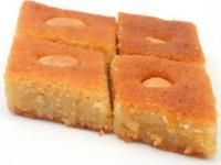 Desserts | Basboosa A favorite Egyptian sweet cake that is baked & soaked with a floral-scented syrup.