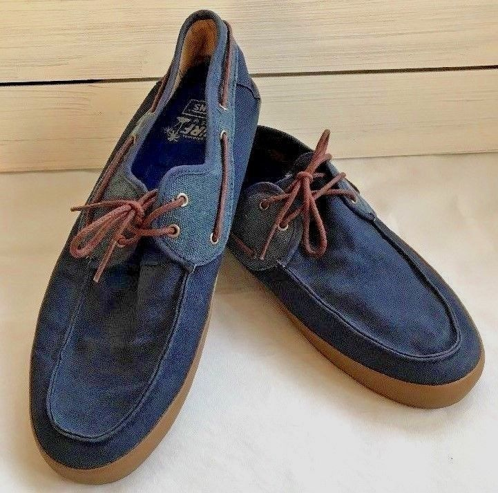 5370ee75a6 Vans The Original Surf Siders By Blue Canvas Lace Up Shoes Mens 12  VANS   Skateboarding