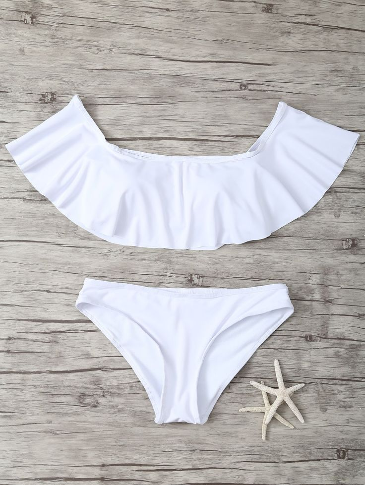 Ruffles Off Shoulder Bikini - WHITE S