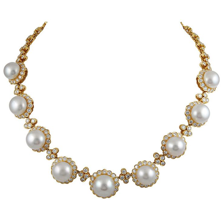VAN CLEEF & ARPELS South Sea Pearl Diamond Necklace: Van Cleef Arpels, South Sea Pearls, Pearl Diamond, Vans, Arpels South, Pearls Diamonds, Diamond Necklacepm, Choker Necklaces, Diamond Necklaces