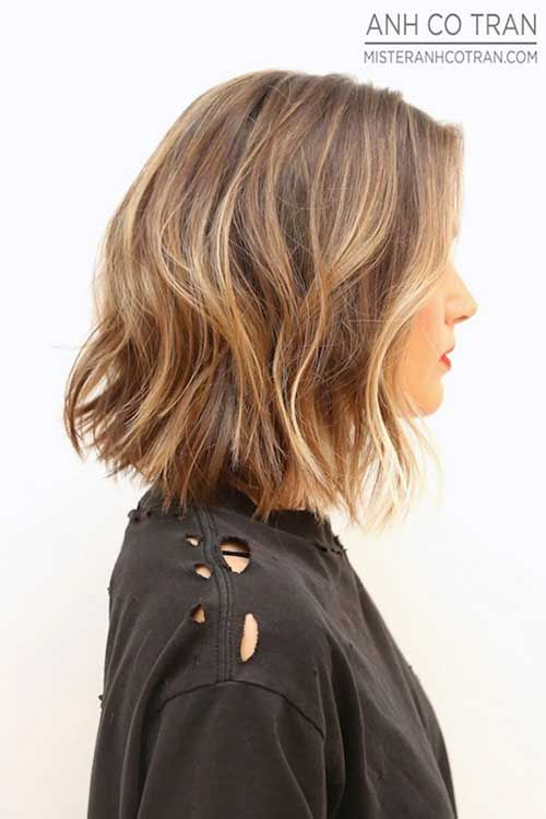 Layered Wavy Blunt Cut for Blonde Hair