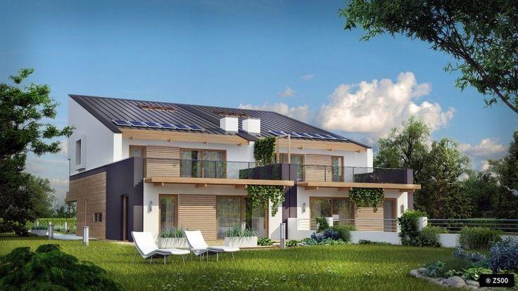Niepowtarzalny projekt do zabudowy bliźniaczej. O wyjątkowym charakterze domu świadczy odważna, energooszczędna bryła oraz nowoczesne rozwiązania projektowe.