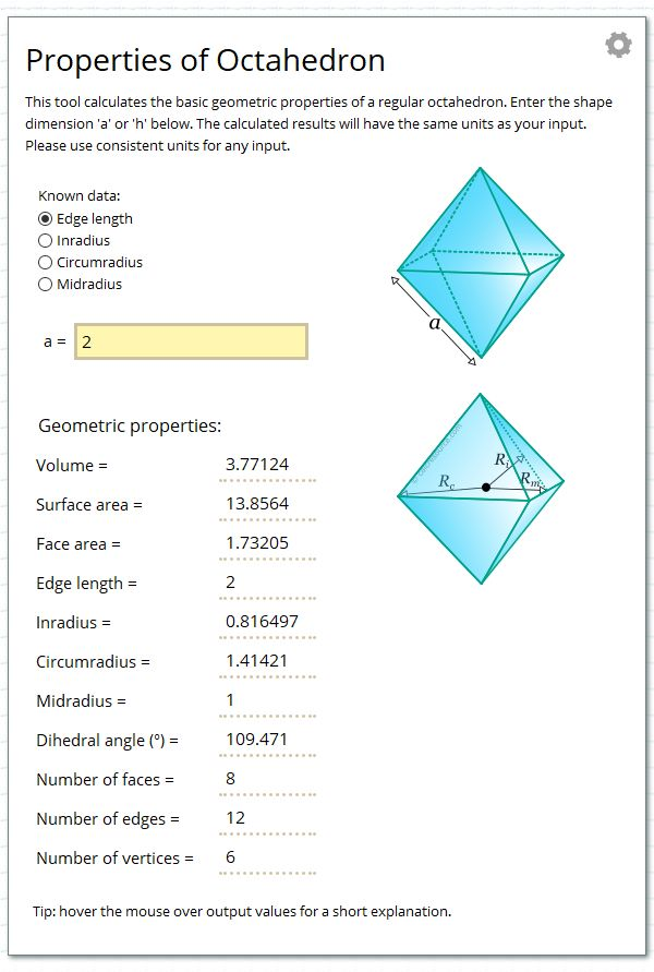 Calculate the geometric properties of a regular octahedron.