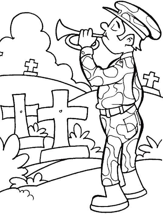 Remembrance Day Of Military Coloring Page