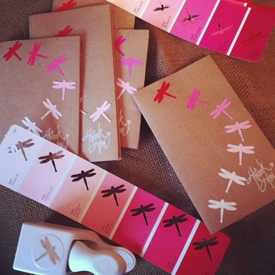 Use paint chips to punch out ombré designs. Valentines day cards and book markers