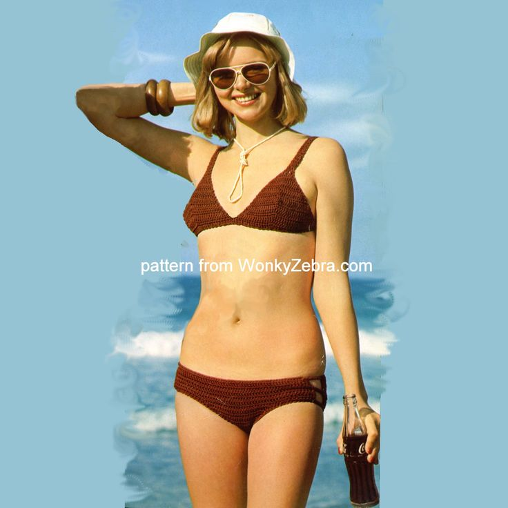 "A good classic bikini from a Mon Tricot bikini pattern-WZ679 ""sister"" to WZ221. I removed the coke bottle shadow from her tummy on this image as it looked odd on just this half without the other girl. This comes with a great mesh beach jacket too."