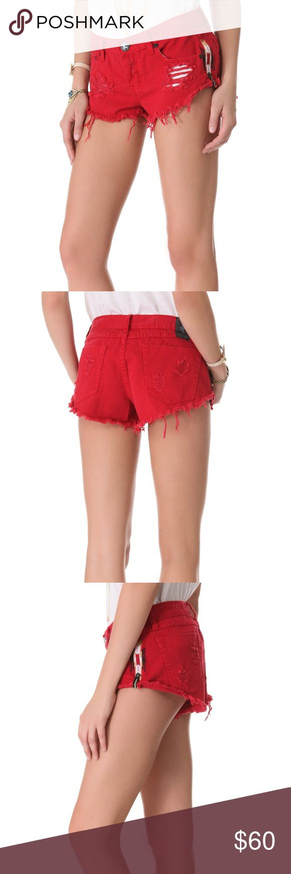 One Teaspoon Aztec Shorts NWT One Teaspoon distressed shorts with Aztec like stitching on the sides. One Teaspoon Shorts Jean Shorts