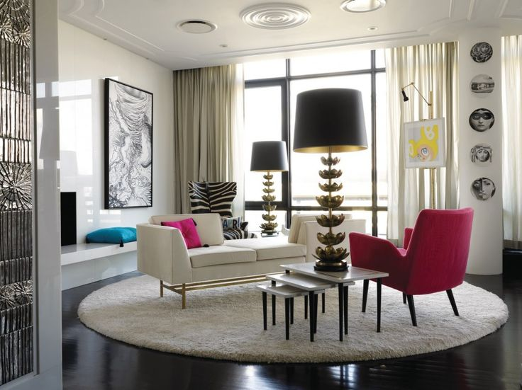 Outstanding Manhattan Penthouse Apartments Design Stylish Living Room With Big Desk