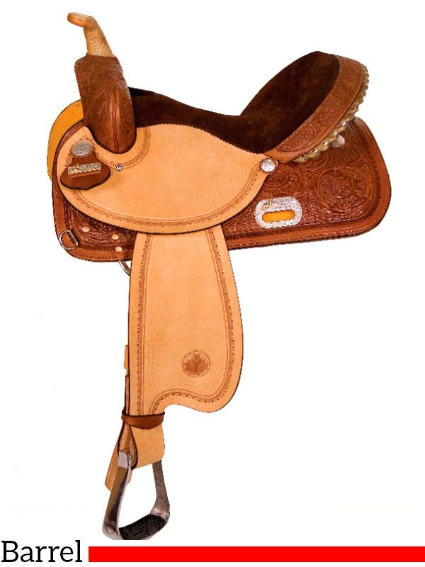 "13"" to 17"" Circle Y The Proven Rush Barrel Racer 3029. The Proven Rush barrel saddle has a hip hugger seat for close contact; a rawhide braided horn; silver laced cantle; border tooled roughout seat jockeys and fenders; Ralide tree; in-skirt rigging; and the tooling is floral and basket combo. Weight: Approximately 24 lbs. Saddles are almost always in stock and ship same day."