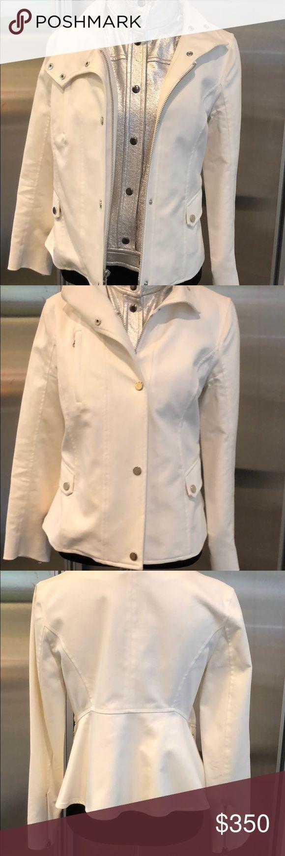 Veronica Beard Blazer w/ Silver Leather Dickey Off white