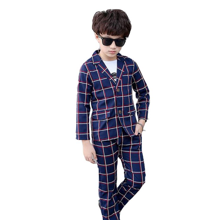 Boys Clothing Sets Plaid School Uniforms For Boys Coat & White T-Shirt & Pants 3Pcs Students Outfits Formal Wedding Blazer Suits #SchoolOutfits