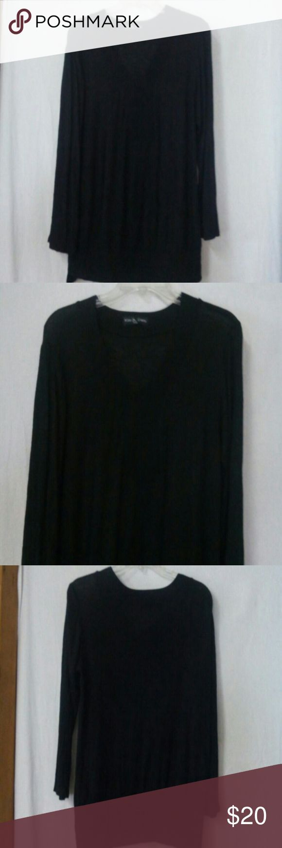 "Kim and cami women size small shirt Barely worn, black, burnout, 3/4 sleeve, burnout, v neck, polyester, chest 42"", length 25 kim & cami Tops"