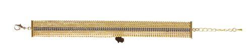 Til dette armbånd er der brugt følgende materialer:  2 stk. afslutning 15mm, forgyldt messing kuglekæde 1,5mm facet, forgyldt messing kuglekæde 1,5mm , sort metal 2 stk. øsken 5mm, forgyldt messing 1 stk. karabinlås 12mm, forgyldt messing 1 stk. kædeforlænger, forgyldt messing 1 stk. vedhæng fatimas hånd, forgyldt messing + bidtang + spidstang  Fremgangsmåden er den samme som beskrevet under halskæde med forgyldt kuglekæde.  Når kuglekæderne i den ønskede længde er fastgjort til…