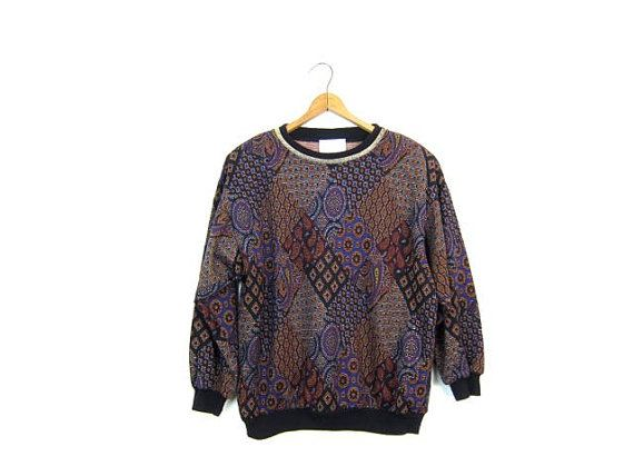 80s Printed Sweater Slouchy Black Purple Red GOLD Tapestry inspired Sweater Top Metallic Gold Shimmer Boho Festival Hipster Womens Small
