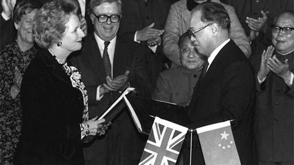 1984: British prime minister Margaret Thatcher and Chinese prime minister Zhao Ziyang sign an agreement to formally transfer control of Hong Kong to Chinese rule in 1997, ending a century and a half of British rule.  As part of the treaty, Hong Kong retains a 50-year extension of its capitalist economic system.