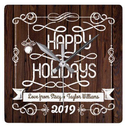 #Rustic Wood Happy Holidays Christmas Typography Square Wall Clock - #Xmas #ChristmasEve Christmas Eve #Christmas #merry #xmas #family #kids #gifts #holidays #Santa