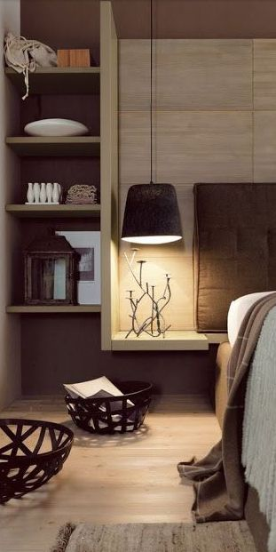 'floating' nightstand w/ pendant light