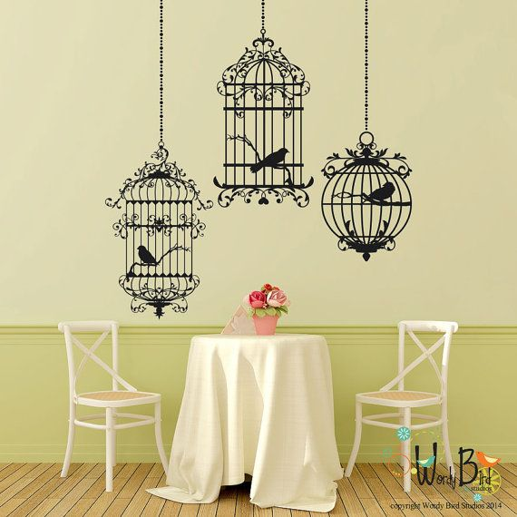 Ornate Birdcages - Vinyl Wall Decal Sticker Art - Victorian Gothic Cottage style