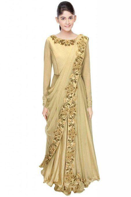 Ekvi Women's Silk Readymade Anarkali Suit (Ekvi_15010287-48 _Beige _48)