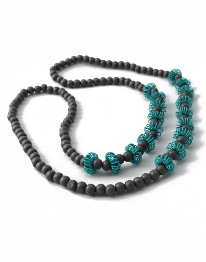 Grey and Teal Wooden Pincushion Necklace