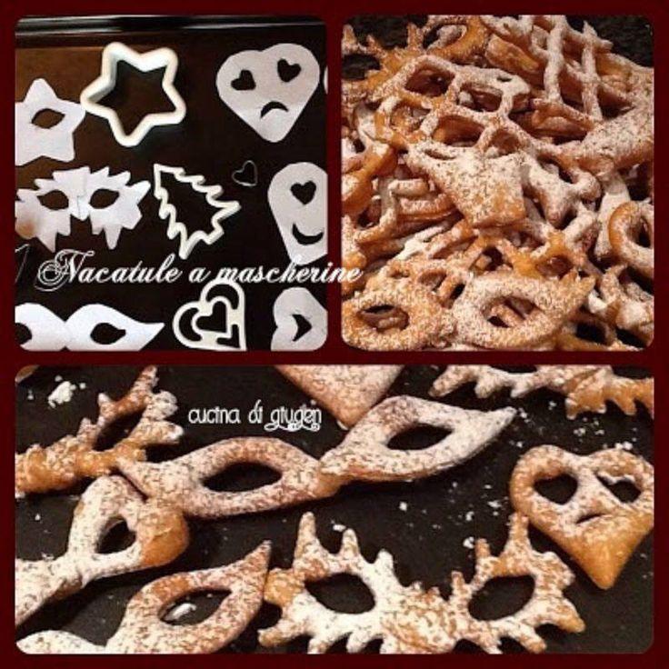 Mascherine di nacatule (frappe, chiacchere, ecc)  fatte con comune stampi per biscotti.