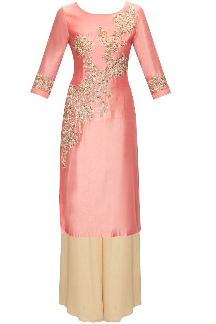 Peach embroidered straight cut kurta palazzo set by Aneesh Agarwaal.     Shop now:  http://www.perniaspopupshop.com/designers/aneesh-agarwaal  #shopnow #perniaspopupshop #aneeshagarwaal