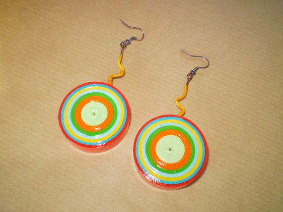 Colorful Target Parer Earrings /Πολύχρωμα by LeftysHandcrafts, €10.00