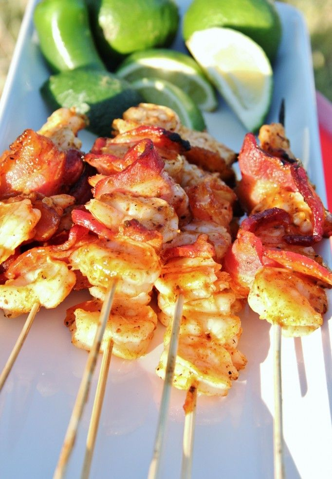 Shrimp & Bacon Kabobs on the grill.