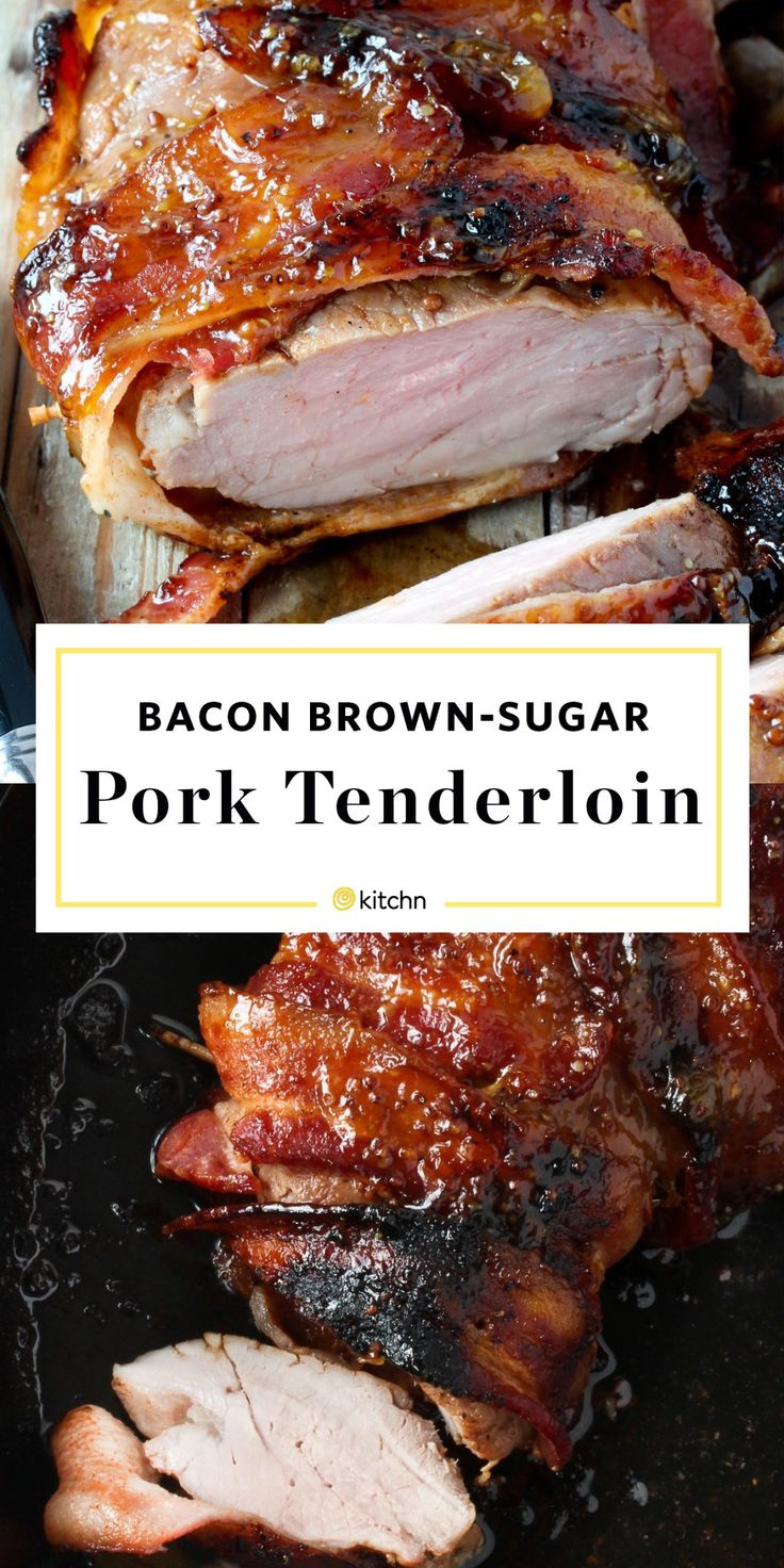 Bacon Brown Sugar Pork Tenderloin Recipe. Pork loin is so easy and quick if you're looking for ideas and recipes for weeknight dinners and meals. Wrap the tenderloin in bacon and drizzle it with a delicious sauce of chutney (or jam) and dijon mustard. Bake it in the oven and a healthy dinner is served!
