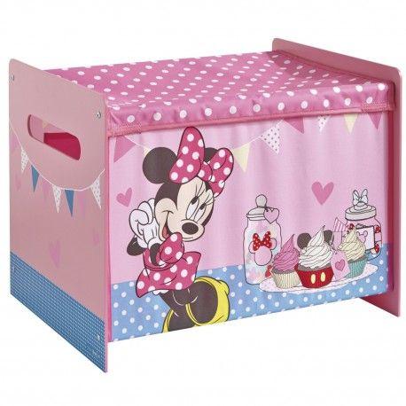 Worlds Apart 475MIZ - BAÚL JUGUETERO INFANTIL DE MADERA Y TELA - Minnie Mouse