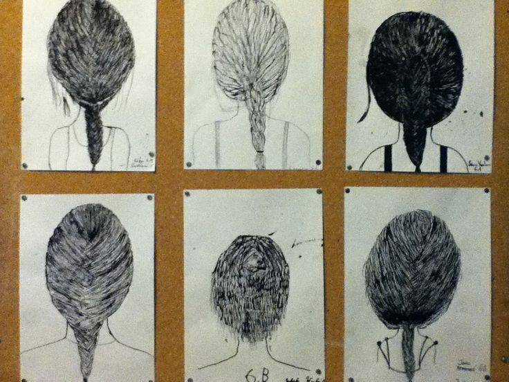 Hairstyle of my classmate with indian ink by grade 6.