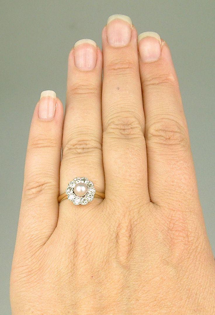 Antique Edwardian Gold Platinum Pink Pearl Diamond Engagement Ring Vintage  Jewelry