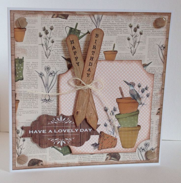 The Potting Shed collection, card designed by Julie Hickey. Gorgeous Autumnal feel to collection featuring gardening tools, sheds, hedgehogs, flower pots, Wellington boots and all things to do with gardening. Perfect for both male and female cards.