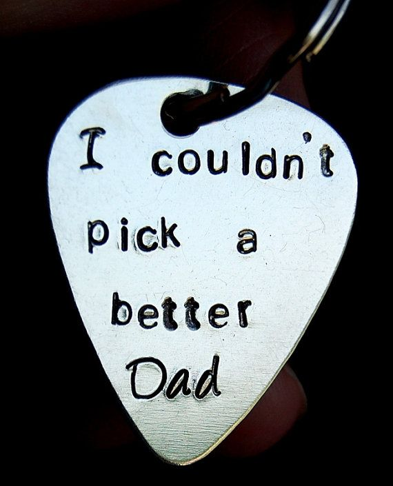 Custom guitar pick keychain, CHRISTMAS Gift for Dad, Dad gift, Father of the Bride Gift, Dad Birthday gift, Couldnt pick a better dad on Etsy, $24.00