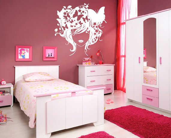 Removable wall sticker  Butterfly girl by CutHart on Etsy