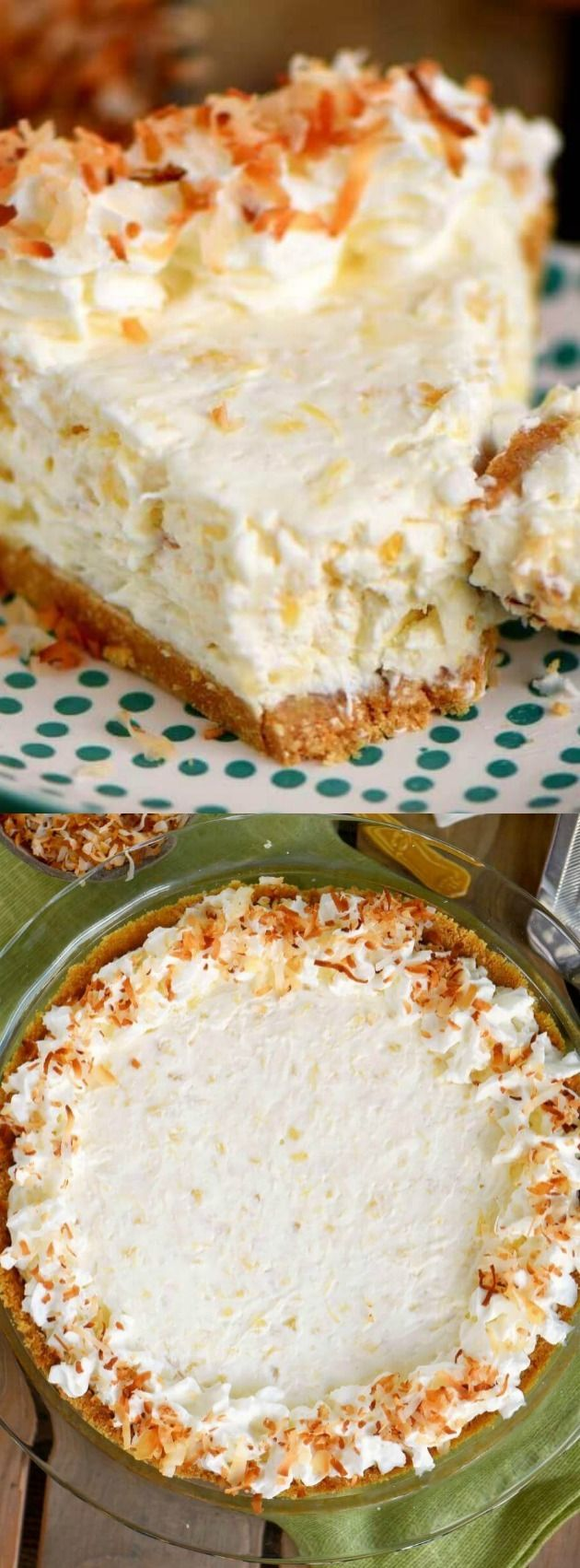 No Bake Pina Colada Cream Pie - love sipping on a pina colada? You're going to love this pie!