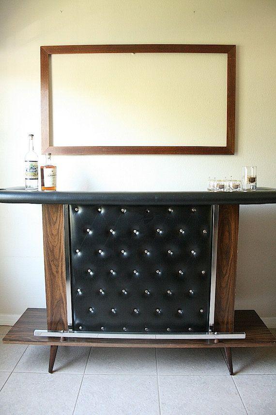 Mid Century Standing Bar Amp Bar Stools Black Naugahyde