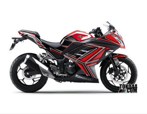 Decal Sticker Modifikasi Kawasaki Ninja 250 Fi ABS Merah - Data Red
