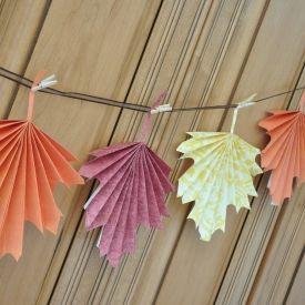 Make beautiful folded paper leaves.