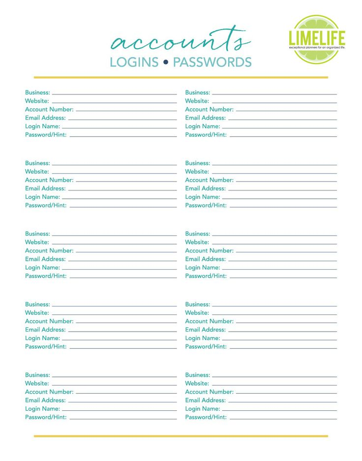 printable password list template